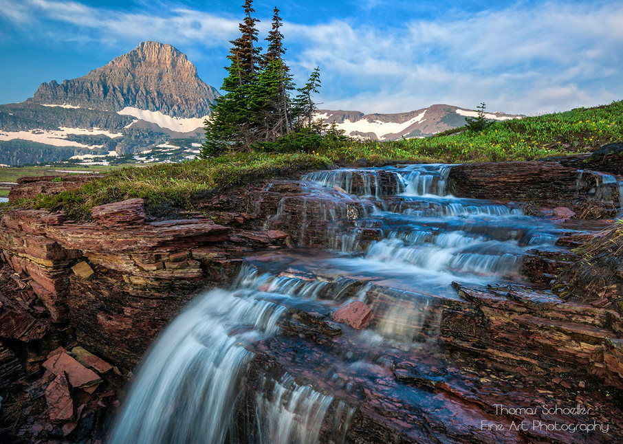Mt Reynolds and a waterfall at Logan Pass Glacier National Park Montana/Fine Art landscape photography print