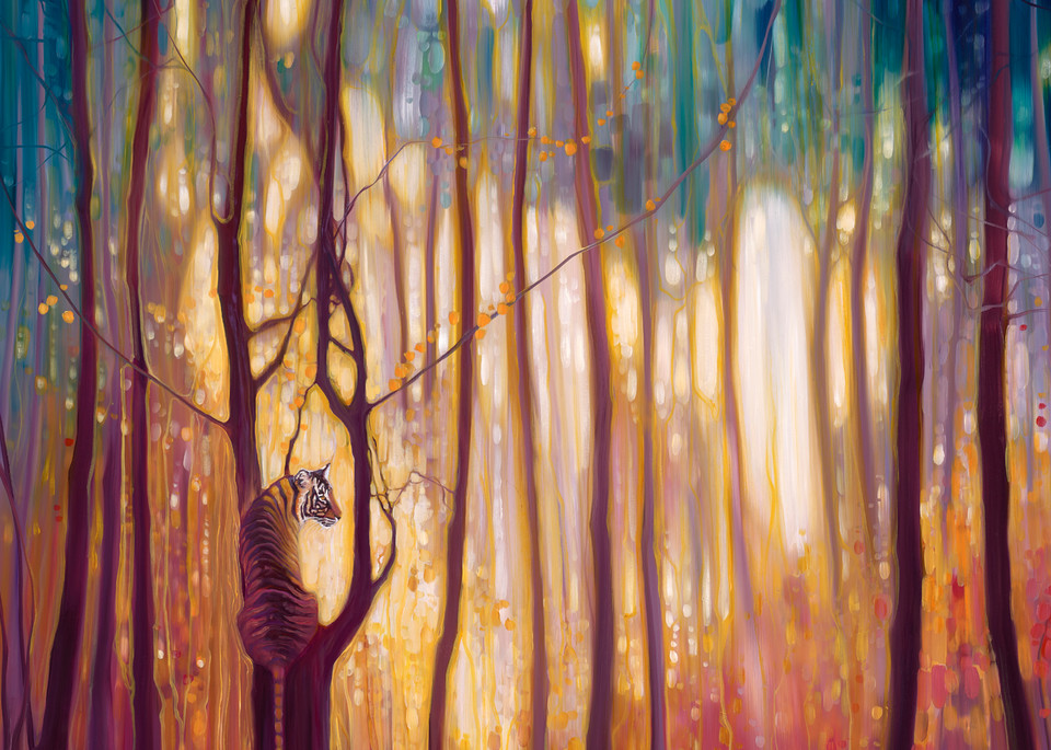 Print Of Burning Bright   A Tiger In A Glowing Forest Art | Gill Bustamante Artist