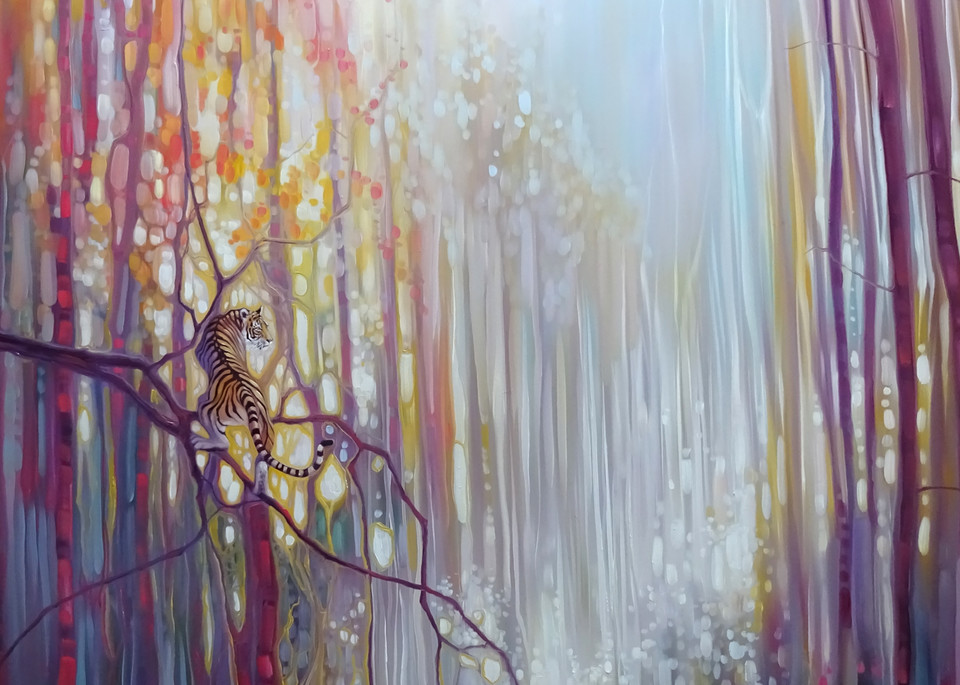 Print Of Tiger Realm   A Tiger In Enchanted Forest Art | Gill Bustamante Artist