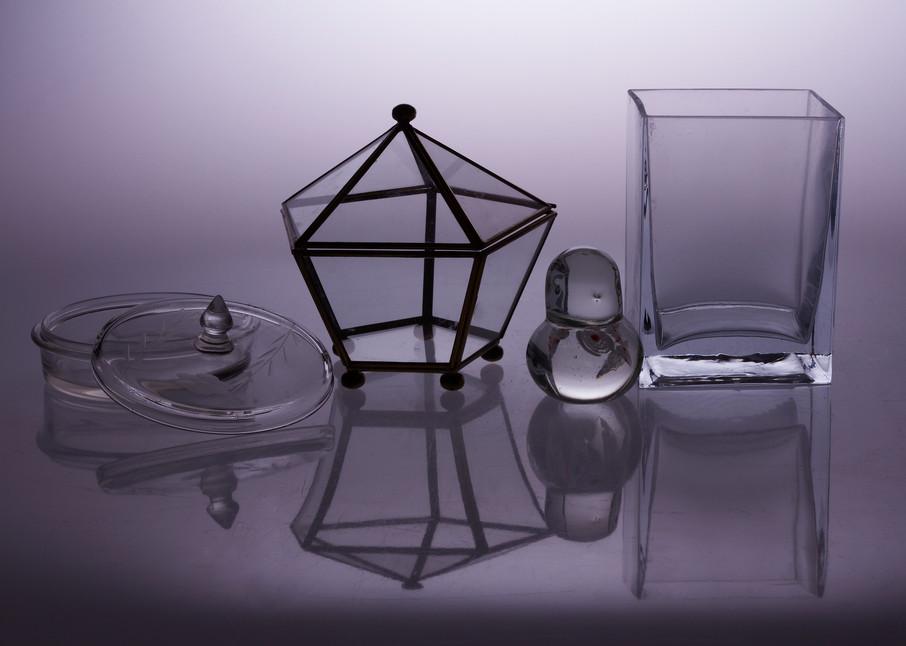 A Fine Art Photograph of White Plexi Reflections of Glass Ornaments by Michael Pucciarelli