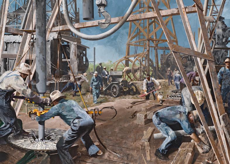 Old Time Oil Field Scene Art | Lesa Delisi, Fine Arts