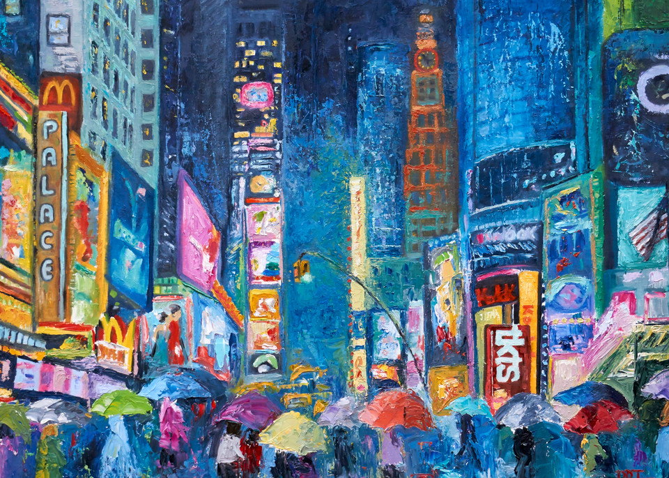 fine-art-print, romantic, lovers, times-square, umbrellas
