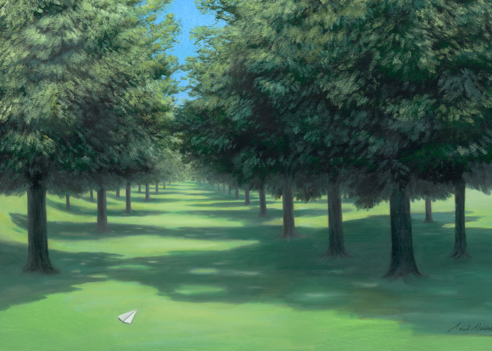 Nelson Napkins - Paper Airplane series landscape painting on canvas by Paul Micich - for sale at Paul Micich Art
