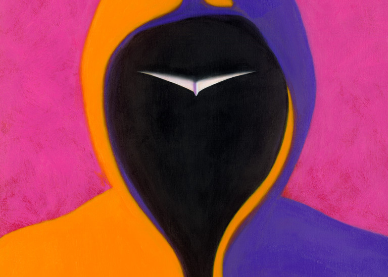 Face On - Paper Airplane series painting on canvas of mysterious man in hoodie by Paul Micich - for sale at Paul Micich Art