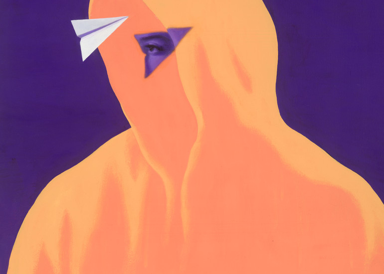 Casting Light - Paper Airplane series graphic painting on canvas of mysterious figure in hoodie by Paul Micich - for sale at Paul Micich Art