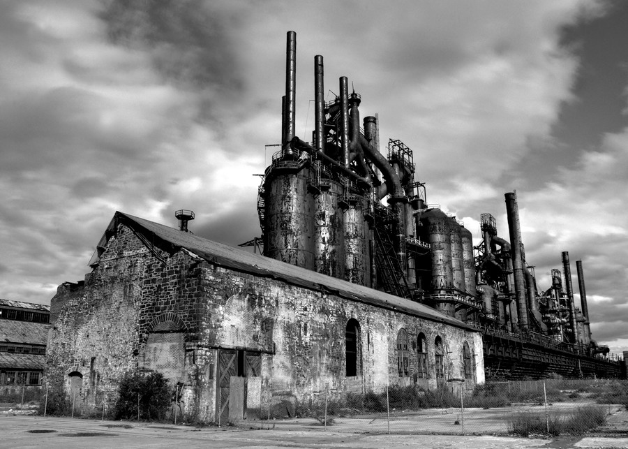 Steel Stacks - black and white - Michael Sandy Photography