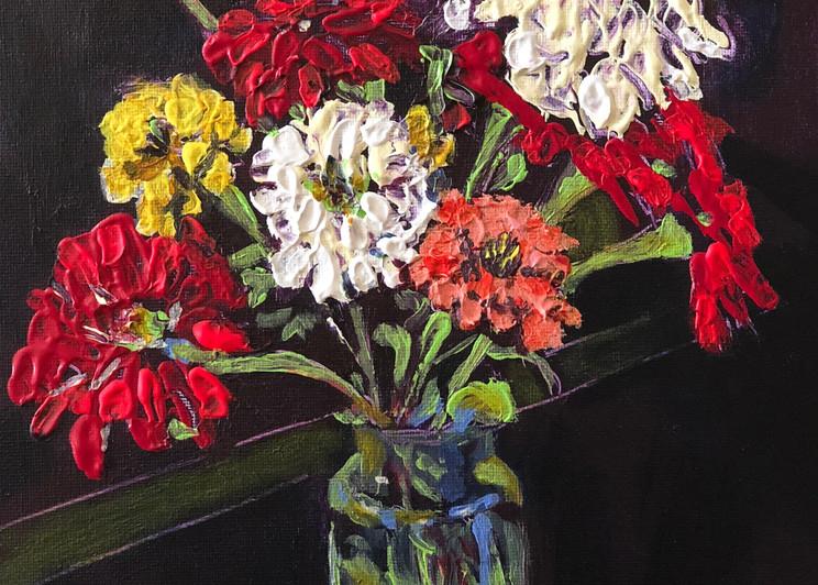 Happy Birthday Zinnias in a Jar | Fine Art Painting Print by Rick Osborn