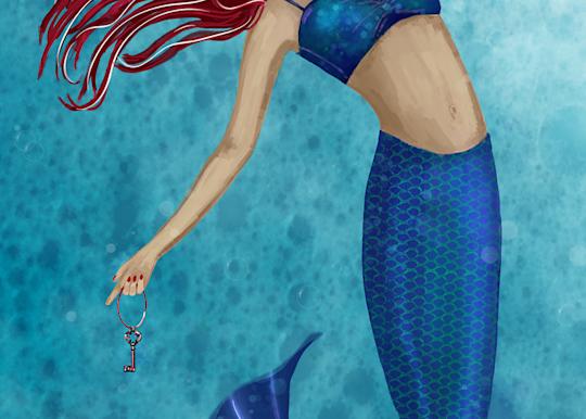 Mermaid With Key Art | Leslie's Art Studio