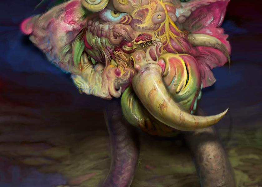 "Burton Gray's ""BOOM!"" dark abstract elephant"