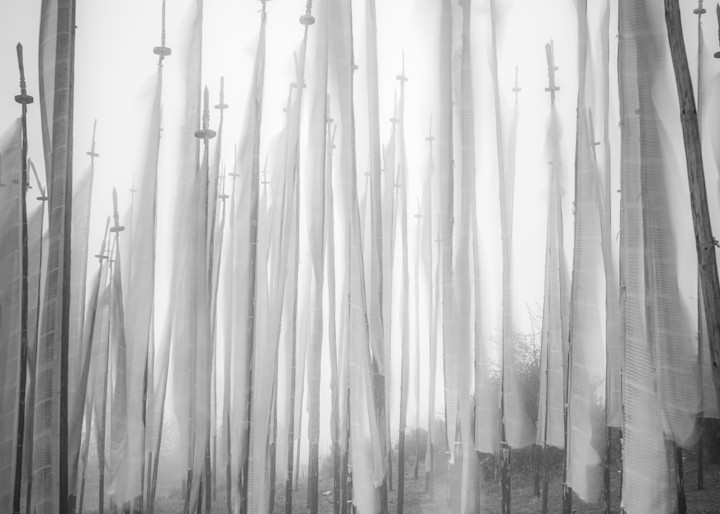 Prayer Flags In The Wind | Black and White Art Photography Store