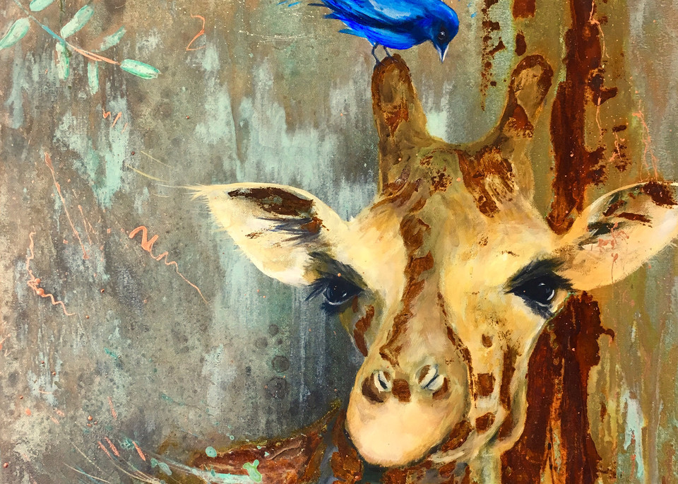 Giraffe with bird painting by Holly Whiting