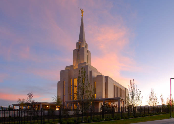 Oquirrh Mountain Temple - Panoramic Pink Clouds