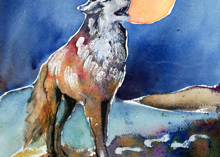 Moon Song Spirit Wolf Art Print