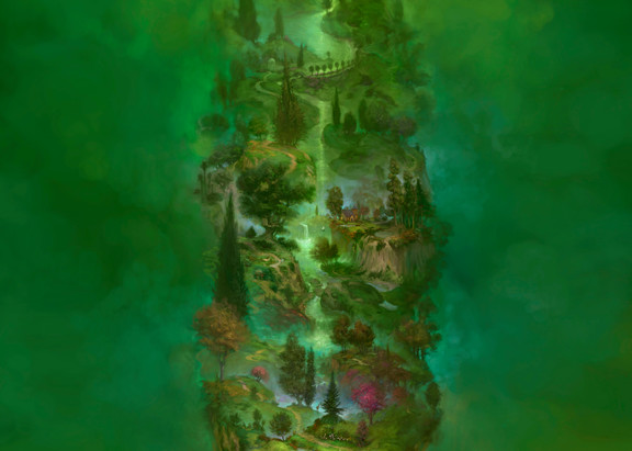 Burton Gray painting of a tall green tree of life.