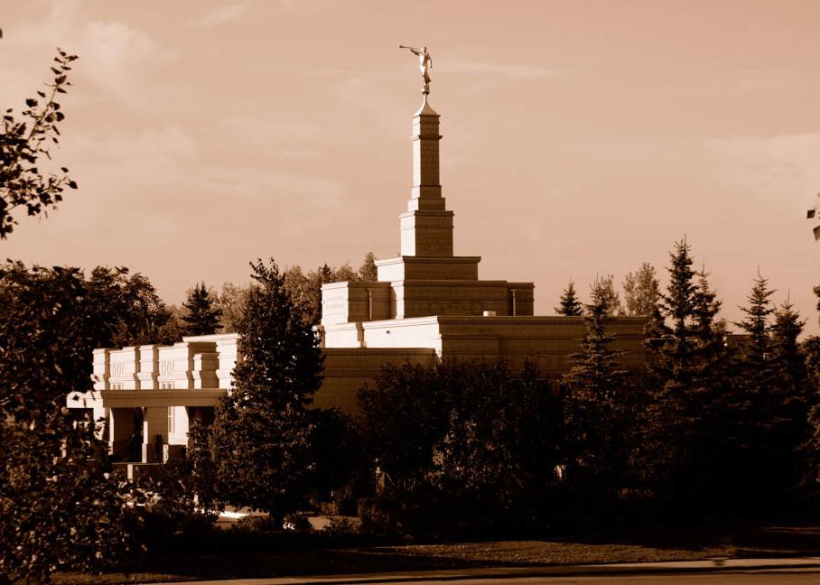 Edmonton Temple - Sepia Foliage