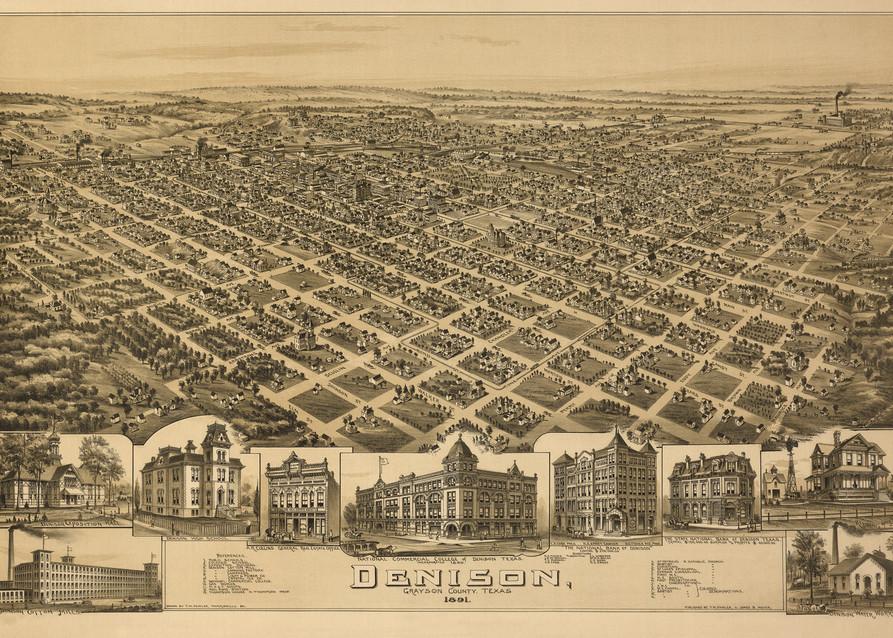 Denison Map   1891 Art   Randy Sedlacek Photography, LLC