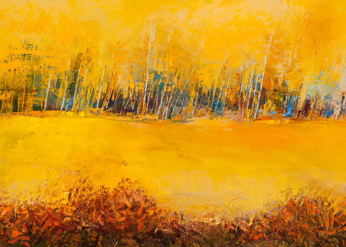 Gold Aspen Tree Landscape Canvas
