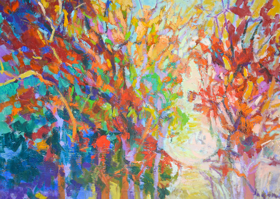 Oversize Abstract Red Tree Painting, Art Print by Dorothy Fagan