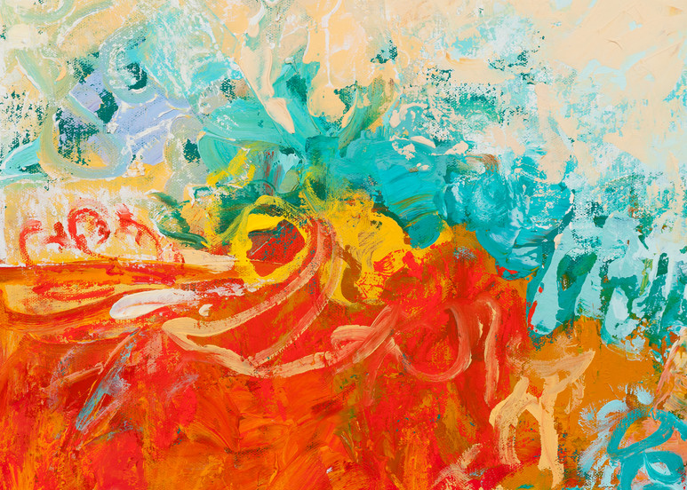 Red White & Blue Abstract  Painting