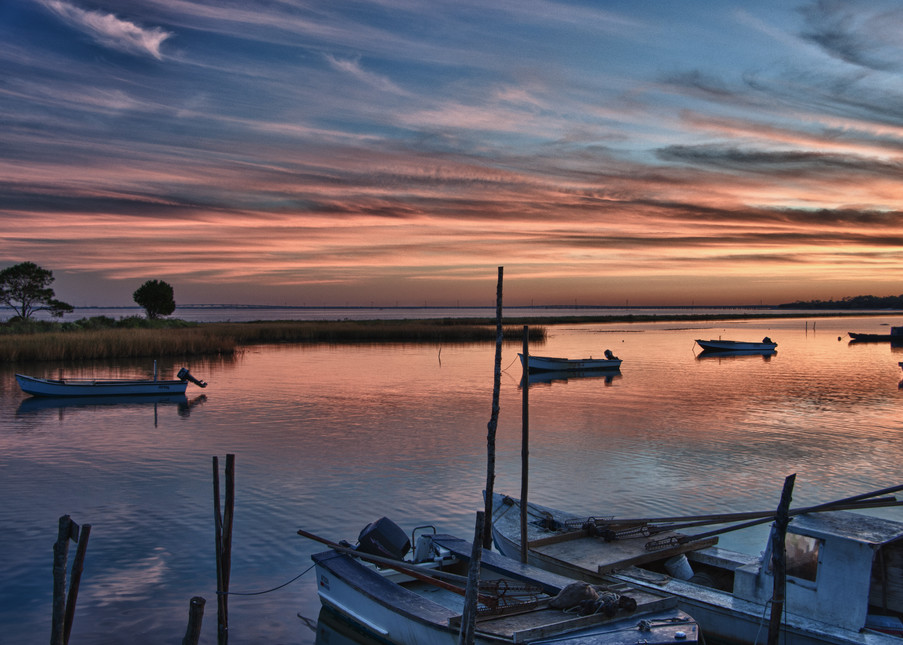 Oyster Boats at Sunset Eastpoint Florida 1