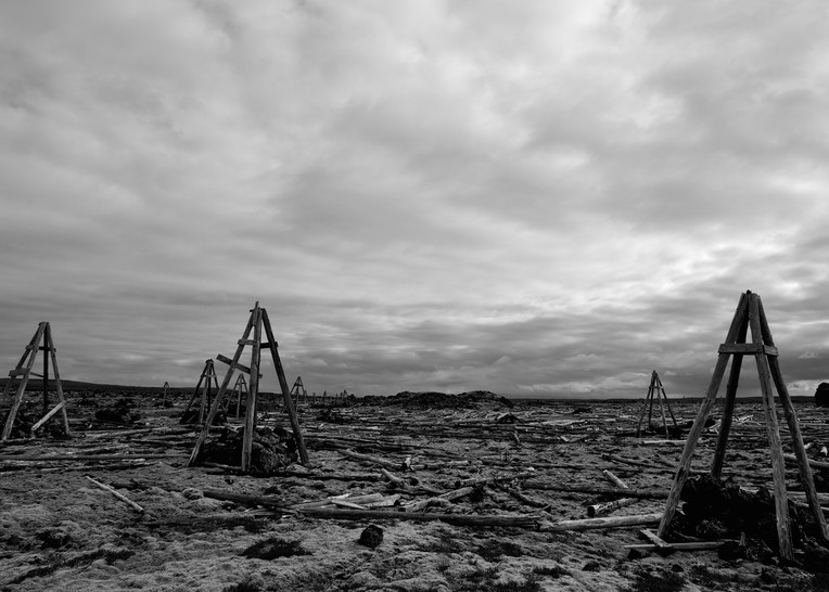 The Remains - Near Grindavikurvegur Iceland   Black & White