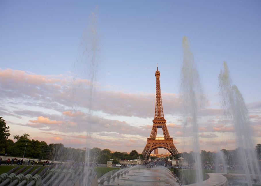 Golden Tower - Eiffel Tower Paris France   Sunset