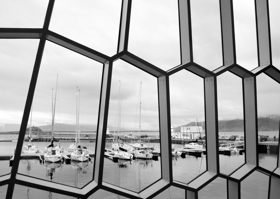 Geometric Waterview - Harpa Reykjavik Iceland | Black & White