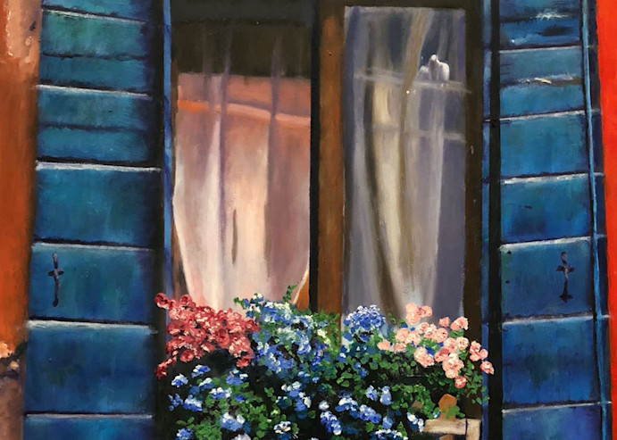 Old Window With Flowers Art | Marci Brockmann Author, Artist, Podcaster & Educator