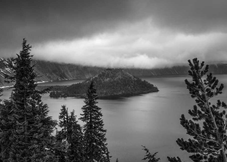 Hanging Clouds At Crater Lk Photography Art   Dale Yakaites Photography