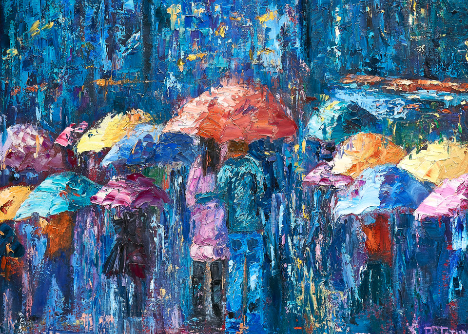 Lovers Walk In City Rain Iii Art | Pamela Ramey Tatum Fine Art