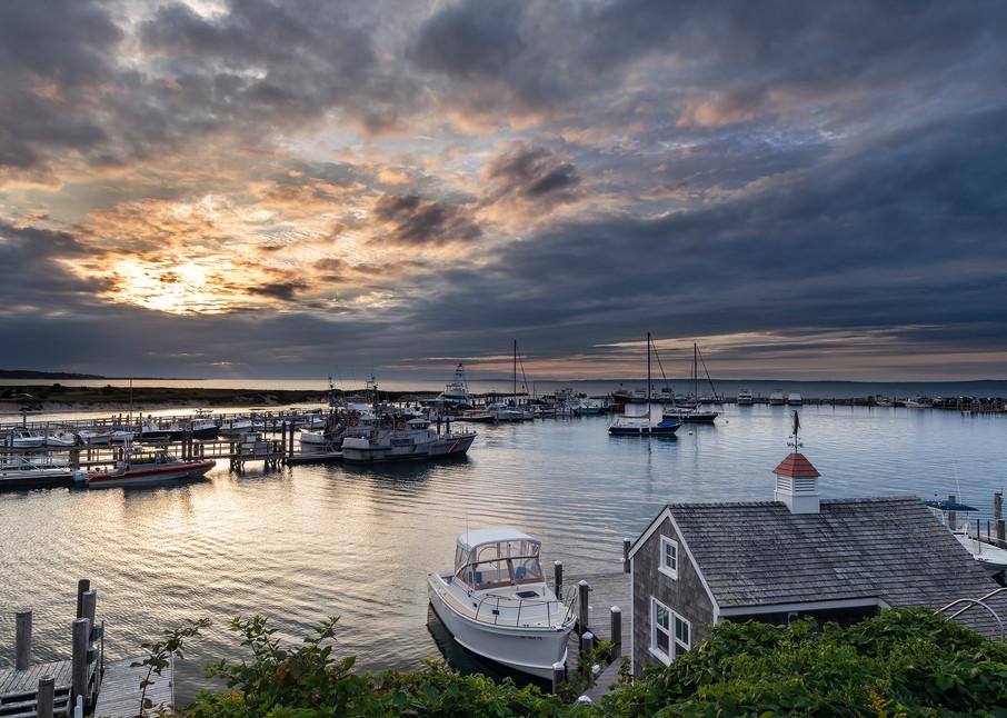 Menemsha Harbor Sunset from Above, Marthas Vineyard by Marc Ye