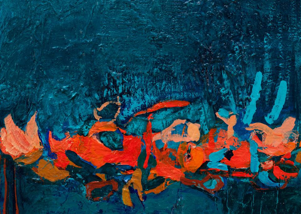 Deep Blue And Orange Canvas