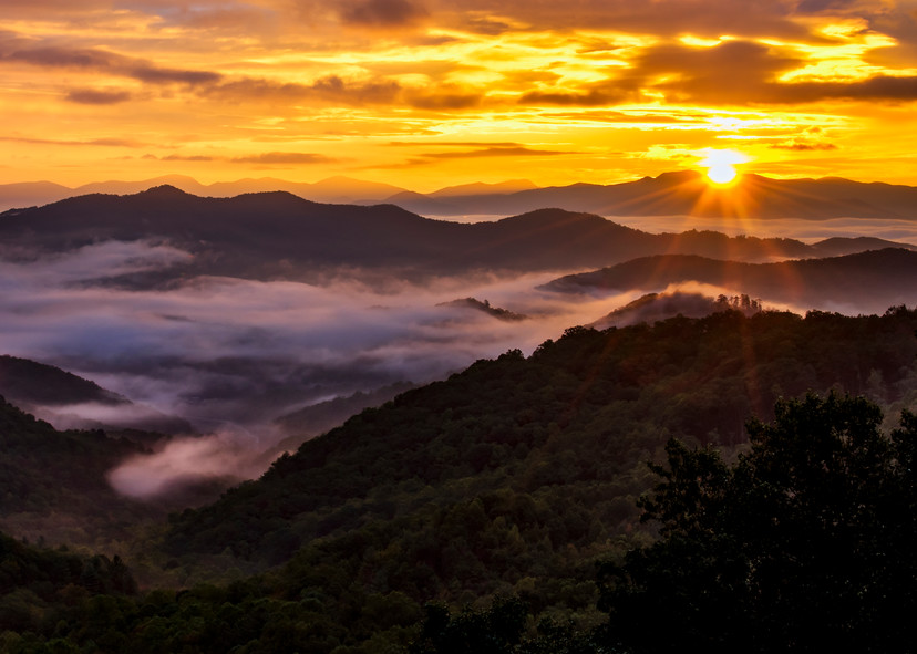Fire over the Smoky Mountain photography