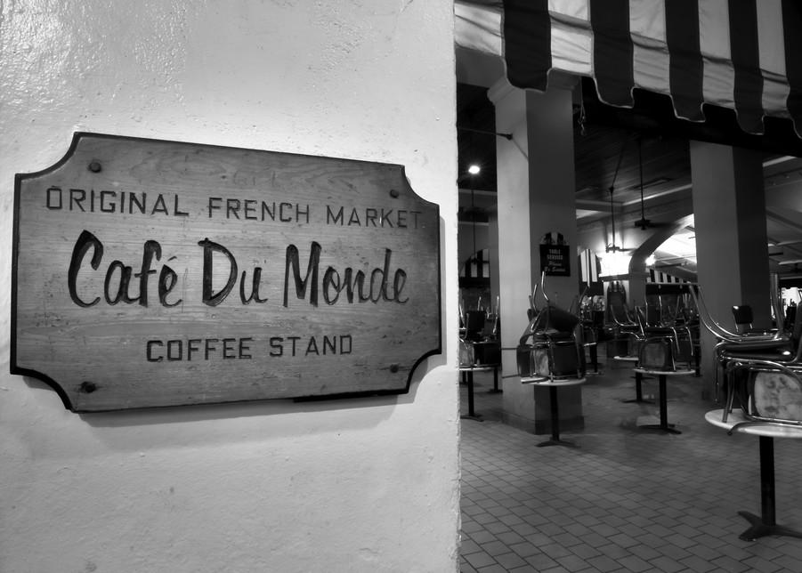 Cafe Du Monde morning black and white photography