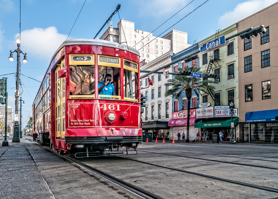 Streetcar at the corner of Canal and Royal photography