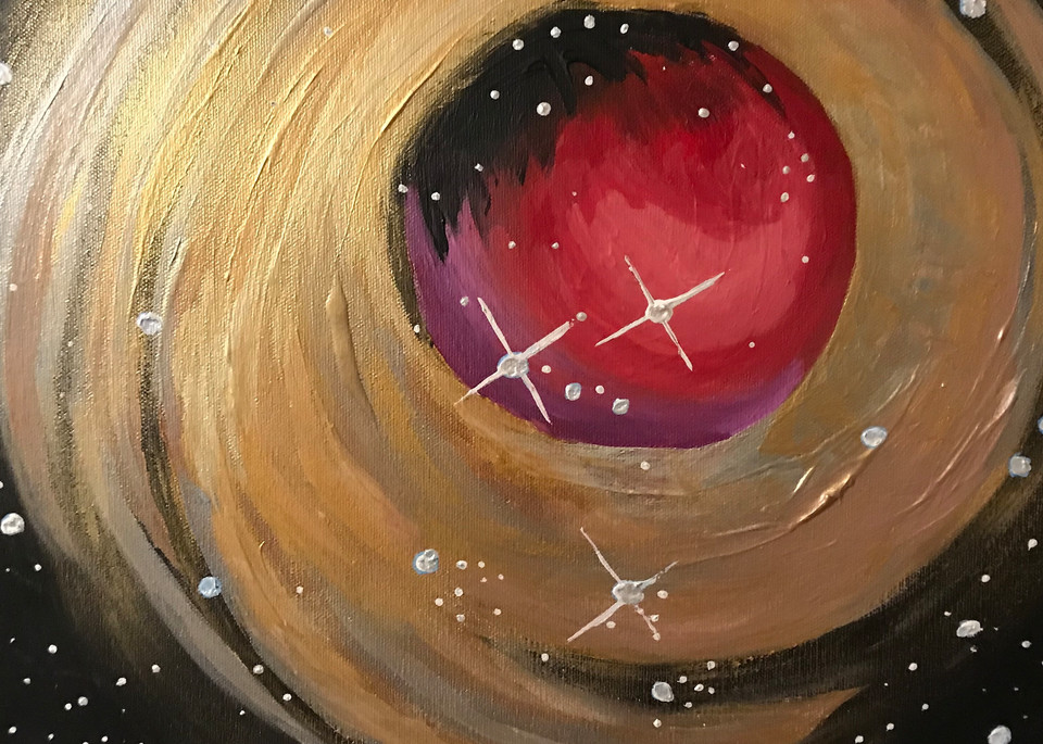 golden metallic sphere painting
