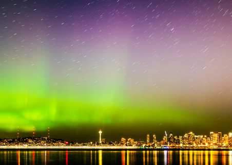 Northern Lights over downtown Seattle