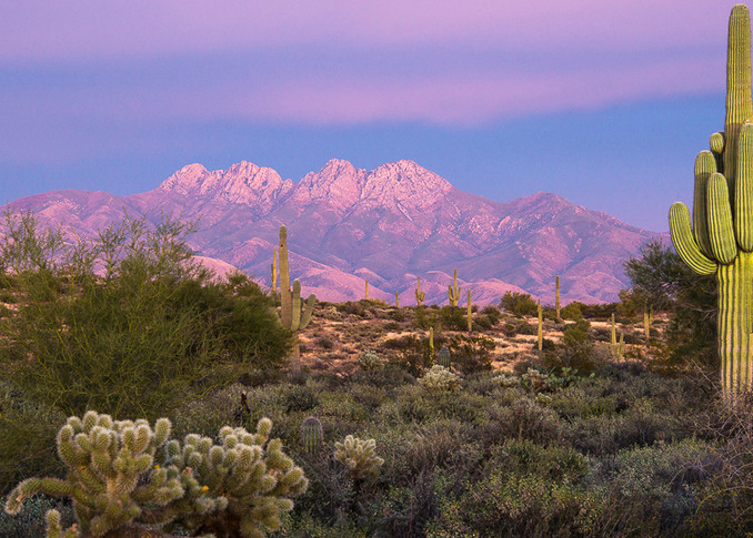 Four Peaks - Painted with Light Pano Photo Print