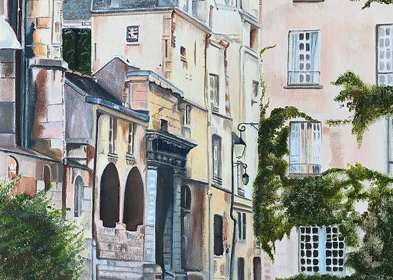 Paris Painting Saint Paul Cobblestone Street