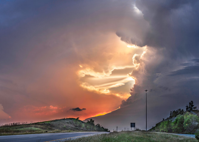 Storms over the prairie-color: Highway to Heaven, a powerful storm photographed by artist and photographer, David Zlotky