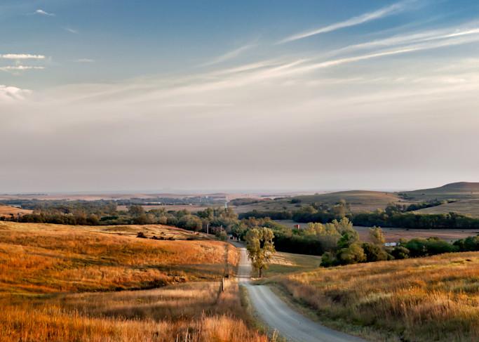 Americana: Sleepy Sunday Morning, a color, fine art photograph of the Kansas Flint Hills by David Zlotky