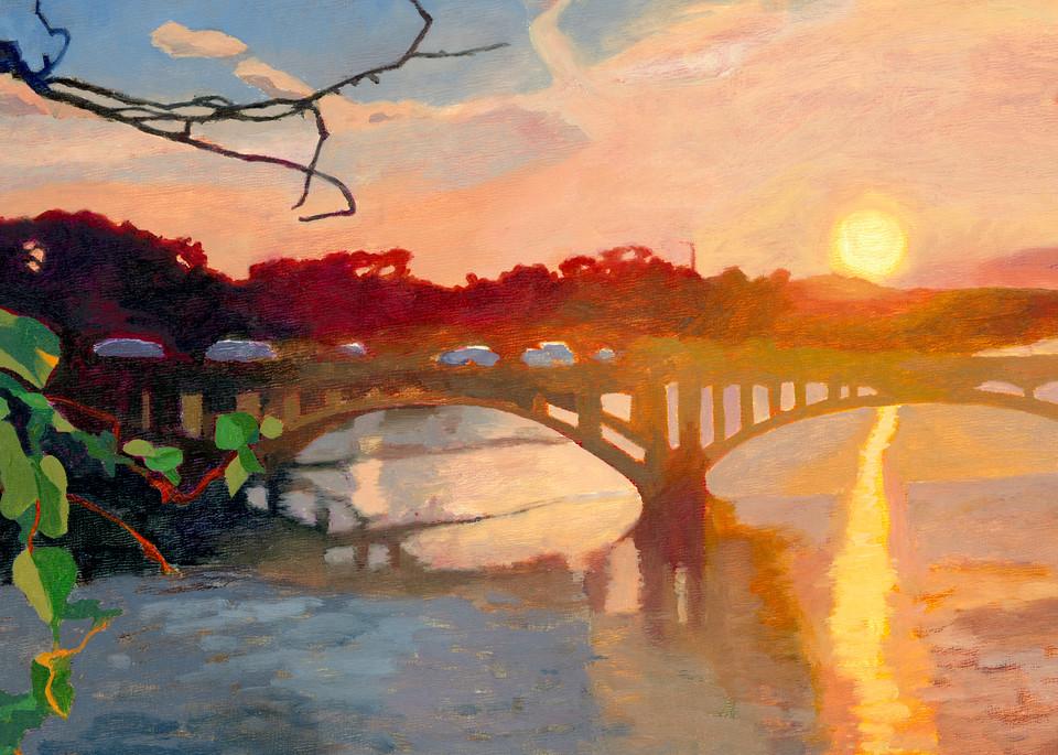 Lamar Bridge Sunset, Austin Art, The Art of Max Voss-Nester