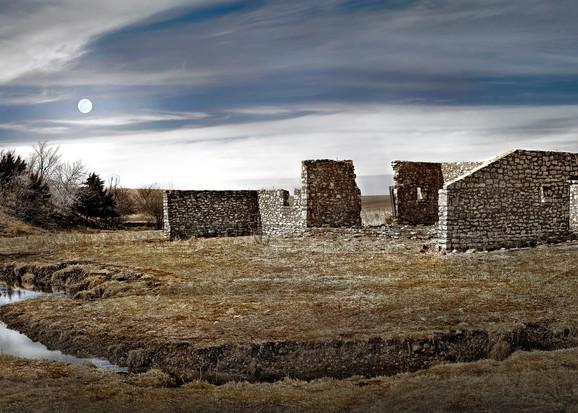 Americana Collection - color   Flint Hills Bones. A fine art photograph of ruins on the Flint Hills by David Zlotky.