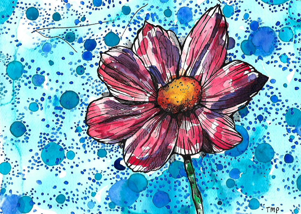 Matt Pierson Artworks | Flower with Cerulean Blue Circles