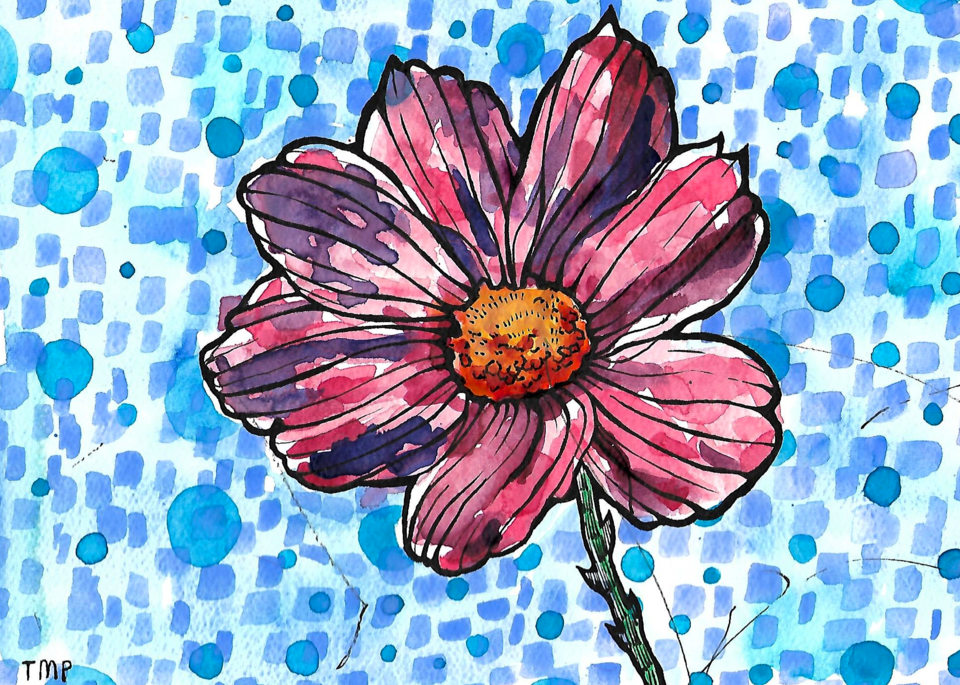 Matt Pierson Artworks | Flower Bold Lines with Cerulean Blue Circles and Blue Squares