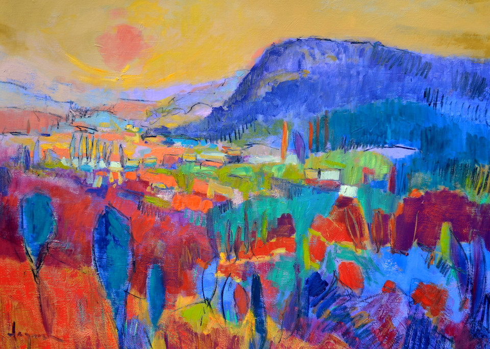 Red Abstract Landscape Painting, Fine Art Print by Dorothy Fagan