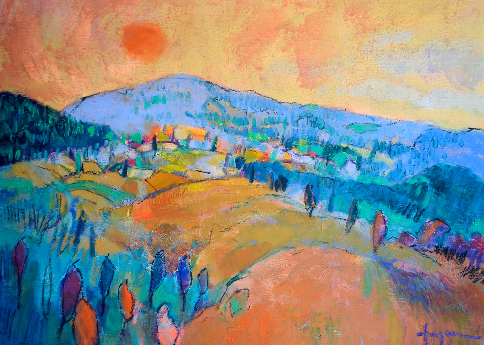 Mountain Sunset Painting, Fine Art Print by Dorothy Fagan