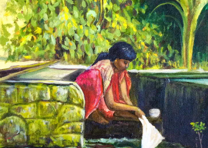 Wash by the River in Kerala Fine Art Open Edition Print