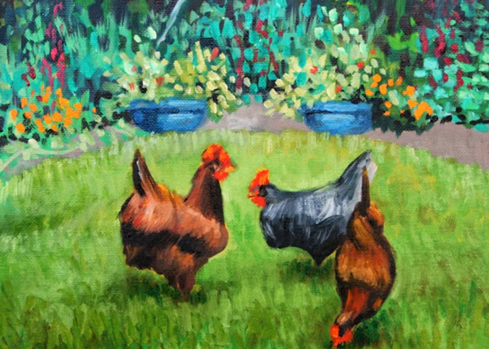 Farmyard friends fine art print by Hilary J. England