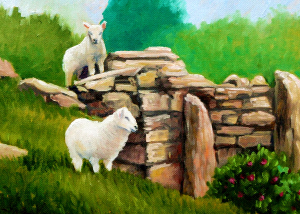 Spring lambs in the ruin fine art print by Hilary J. England